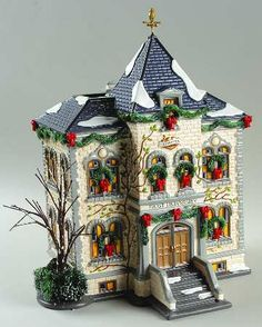 Department 56 Snow Village Frost University - With Box White Christmas Trees, Christmas In The City, Christmas Mantels, Christmas Scenes, Silver Christmas, Victorian Christmas, Vintage Christmas Ornaments, Christmas Home, Christmas Crafts