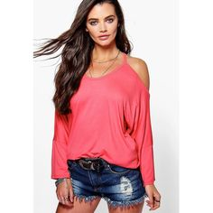 Ladies Casual Loose Open Cold Shoulder Pullover Tops Womens Blouse Scoop Neck Cut Out T-Shirt