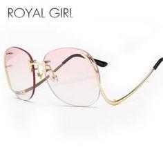7777b6a636 Lisipieces-ROYAL GIRL Sunglasses Women Retro Designer Rimless Frame Girl  With Sunglasses