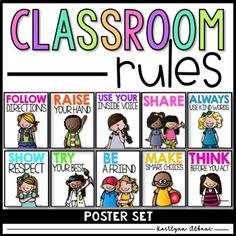 Use these simple classroom posters to remind your students of your classroom rules. The posters are easy to read and have a fun kidlette on them!