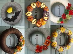 Fall!  Fall!  Fall!  This looks so easy.  Just wrap a styrofoam wreath in yarn and embellish!  Cute!
