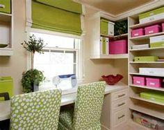 Home office organization {love the idea of color theme organization}