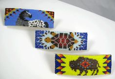 Unusual Figural Navajo Hand Beaded  Hair Clips Finished in Soft Dearskin    3 and 1/4 inches long and 1 inch wide. Beautifully hand beaded.    Choose Horse, Turtle or Buffalo  (one of a kind)    Price: $45