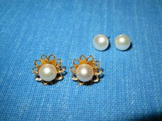 14k Yellow Gold & Cultured Pearl Fine Stud Earrings - 2 PAIR CHANGEABLE STUDS  #Stud