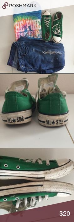 Green Allstar low top converse These Amazon green converse are a great pair of shoes to wear with a simple outfit or tshirt .Int he inside bottom portion of the shoes there is a little bit of brown splattered part along with very tiny bleach stains hidden Converse Shoes Sneakers