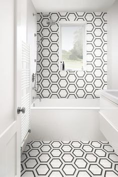 The Capsule collection from Garden State Tile features a handmade cement-look in a contemporary porcelain format. Available in 5 true concrete colors and an array of encaustic designs and sizes, Capsule delivers a bold splash of character to both residential and commercial interior installations. Geometric Tiles, Hexagon Tiles, Tiles Direct, Bathtub Tile, Concrete Color, Hall Bathroom, Bathroom Ideas, Bathroom Design Inspiration, Encaustic Tile