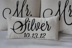 Mr. & Mrs. Custom Pillow with Name and Wedding Date...WANT