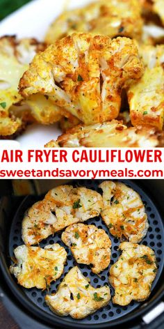 Air Fryer Cauliflower is coated in paprika, herbs, and cheese, then roasted until perfectly tender with crispy, caramelized edges. #cauliflower #airfryerrecipes #sweetandsavorymeals #airfryercauliflower #sidedish