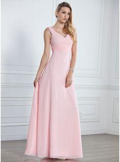 A-Lijn/Prinses V-nek Vloer lengte De Chiffon Bruidsmeisjes Jurk met Roes