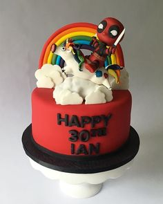Deadpool Cake Fondant Cakes, Cupcake Cakes, Cupcakes, Deadpool Cake, Funny Birthday Cakes, Character Cakes, Baking With Kids, Unique Cakes, Cake Pictures