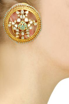Turquoise and white stone statement round earcuffs by Anita Dongre