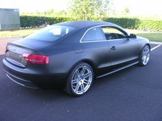 Audi S5 came to us in silver metallic, left us fully vinyl wrapped in Matt Black with Carbon Fibre wrap detailing