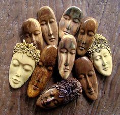"""""""Arctic Expeditions"""": May 2010 Fimo Clay, Polymer Clay Projects, Polymer Clay Beads, Ceramic Beads, Arte Tribal, Josephine, Clay Faces, Paperclay, Bone Carving"""