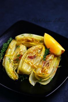 #French #Dishes - Endives braisées à l'orange, thym et pignon…