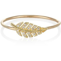 Jennifer Meyer Women's Diamond & Gold Leaf Ring (€730) ❤ liked on Polyvore featuring jewelry, rings, colorless, gold rings, pave diamond ring, diamond band ring, band rings and diamond rings