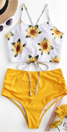 Love Sunflower Tankini Set swimsuit bikinis Style: Cute  Swimwear Type: Tankini  Gender: For Women  Material: Nylon,Polyester,Spandex  Bra Style: Padded  Support Type: Wire Free  Collar-line: Spaghetti Straps  Pattern Type: Floral  Decoration: Criss-Cross,Lace up,Ruched  Waist: High Waisted