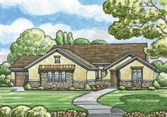 European Style House Plans - 2012 Square Foot Home , 1 Story, 2 Bedroom and 2 Bath, 3 Garage Stalls by Monster House Plans - Plan 10-1512