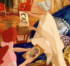 """In the animated film """"Anastasia,"""" the drawing the Dowager Empress holds when she and Anya are reminiscing (the same one we see little Anastasia give her at the beginning of the film) is a picture the real Anastasia had drawn for her father in 1914. And, in real life, Olga really did say that Anastasia's drawing looked like a pig riding a donkey! This was stated by Anastasia in a letter to her father, and the image used in the movie is an actual reproduction of the original picture."""