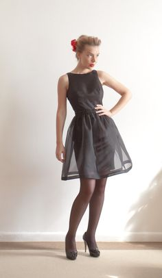 Not to sure about the sheerness but LOVE the style.  Custom Made  Silk Organza Sheath Party Dress With by LanaStepul, $375.00