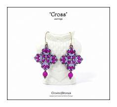 Bead pattern DIY tutorial Cross earrings with by CrownofStones
