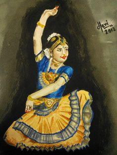 Harinarayan Sreenivasan Watercolor Painting. Performing Arts Art - Nartaki