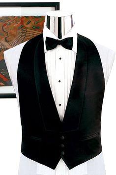 Backless Tuxedo Vest - Available in Black OR White
