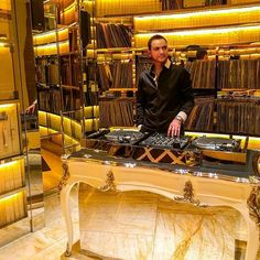 Trying to be the DJ inside the private room at Intrigue Night Club in Wynn Resort, Las Vegas
