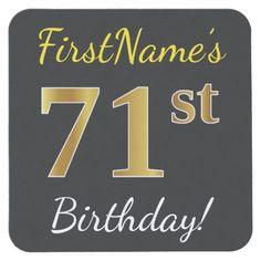 Black, Faux Gold 71st Birthday + Custom Name Square Paper Coaster