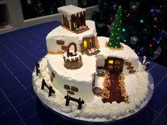 Christmas Haven Cake- Torta Rifugio di Natale Christmas Haven Cake - Mexican Christmas, Christmas Dishes, Christmas Time, Xmas, Torte Recepti, Polymer Clay Crafts, Cake Art, Fondant, Cake Recipes