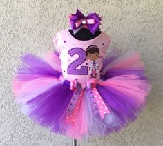 Girls Birthday Doc McStuffins Purple Pink Bling Tutu Outfit