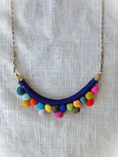 The FRANKIE Necklace--Multicolored--Handmade with Felted Wool Pom Poms, Cotton, Leather, and Brass Felt Necklace, Fabric Necklace, Diy Necklace, Pompom Necklace, Necklaces, Textile Jewelry, Fabric Jewelry, Felted Jewelry, Diy Schmuck