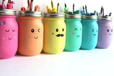 "You'll put a big smile on your kids' faces with these Kawaii Inspired DIY Painted Mason Jars. Kawaii is the Japanese term for ""cute"" or ""charming,"" and it's all too fitting for this easy mason jar craft! Pot Mason Diy, Mason Jar Crafts, Bottle Crafts, Coffee Jar Crafts, Kids Crafts, Diy And Crafts, Recycled Crafts, Easy Crafts, Pot A Crayon"