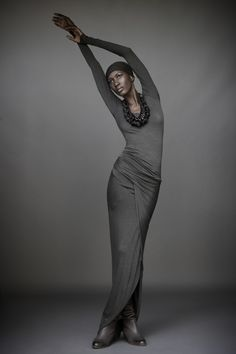 Donna Karen, Urban Zen_ElementsII_Long Sleeve Top, new stone, 425; Drape Skirt 795