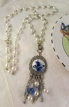 Vintage Blue and White Delft Holland Pendant on Pearl Necklace