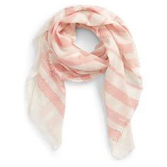 Women's Sole Society Stripe Scarf ($35) ❤ liked on Polyvore featuring accessories, scarves, coral combo, striped scarves, striped shawl, sole society, cotton shawl and cotton scarves