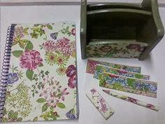 Cuaderno, lapiz, goma, tarjetas,  portanotas, articulos escritorio decoupage
