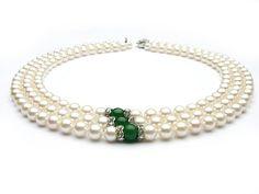 Triple-strand White Akoya Pearl Necklace