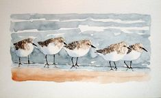 "paintings of sandpipers, paintings of egrets | 10"" Painting Group of Little Sandpipers"