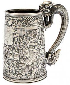 Mug oriental de prata do sec. XIX. Bojo com rica ornamentação