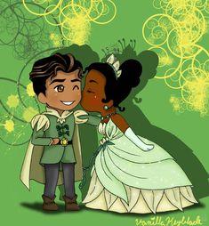 Film Disney, Disney Couples, Disney Fan Art, Disney Magic, Princesa Tiana Disney, Disney Princess, Tangled Princess, Princess Merida, Chibi Disney