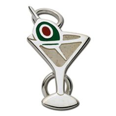 Sterling silver convertible charm-Martini with green olive