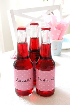 Party: Make new labels for the soda/water, and write the guests names on them :) Girl Birthday, Birthday Parties, Pink Clouds, Pink Parties, Sweet Sixteen, Hot Sauce Bottles, Entertaining, Drinks, Party
