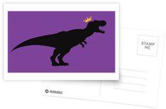 T-Rex King Postcard #dinosaurs #tyrannosaurus #rex #crown #jurassic