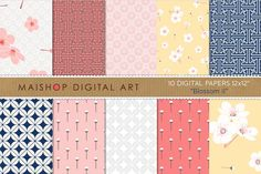 Digital Paper-Blossom by Maishop on @creativemarket