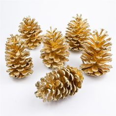 Gold Dipped Long Leaf Pine Cone with Glitter Tips
