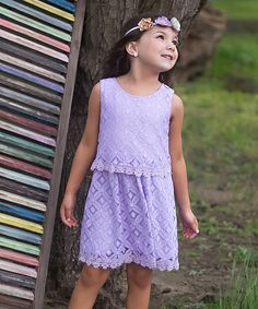Another great find on #zulily! Lavender Lace Tier Sheath Dress - Toddler & Girls by Sweet Charlotte #zulilyfinds