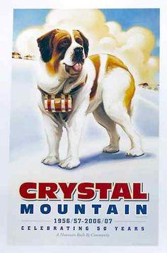 Crystal Mountain (MI) 50th Anniversary Poster -- Vintage Ski Style with Saint Bernard     http://cgi.ebay.com/ws/eBayISAPI.dll?ViewItem=121058752198