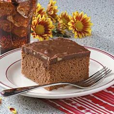 Cocoa Cola Cake from cake mix. (allrecipes) I made this for a Southern friend who is crazy about coke. When I told him it was a cocoa cola cake he had no clue. The cocoa flavor doesn't come through on this either. 3 out 5 stars Cocoa Cola Cake, Fudge Frosting, Yogurt Cake, Cake Mix Recipes, Dessert Recipes, Cake Tasting, Orange Recipes, Cake Tins, So Little Time