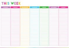 {Free} Weekly Planner Printable - Such a cute to do list template / daily planner! It has bright colors to make daily to do lists fun!