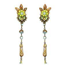 Orly Zeelon Brass, Blue, Green, Beige Crystal Heart Earrings